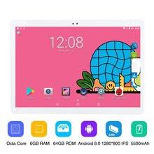 10 אינץ שיחת טלפון אנדרואיד 8.0 אוקטה Core 6G 64G Tablet Pc מובנה 3G 4G LTE 1280x800 IPS מסך מגע 10.1 אינץ Tablet WIFI FM