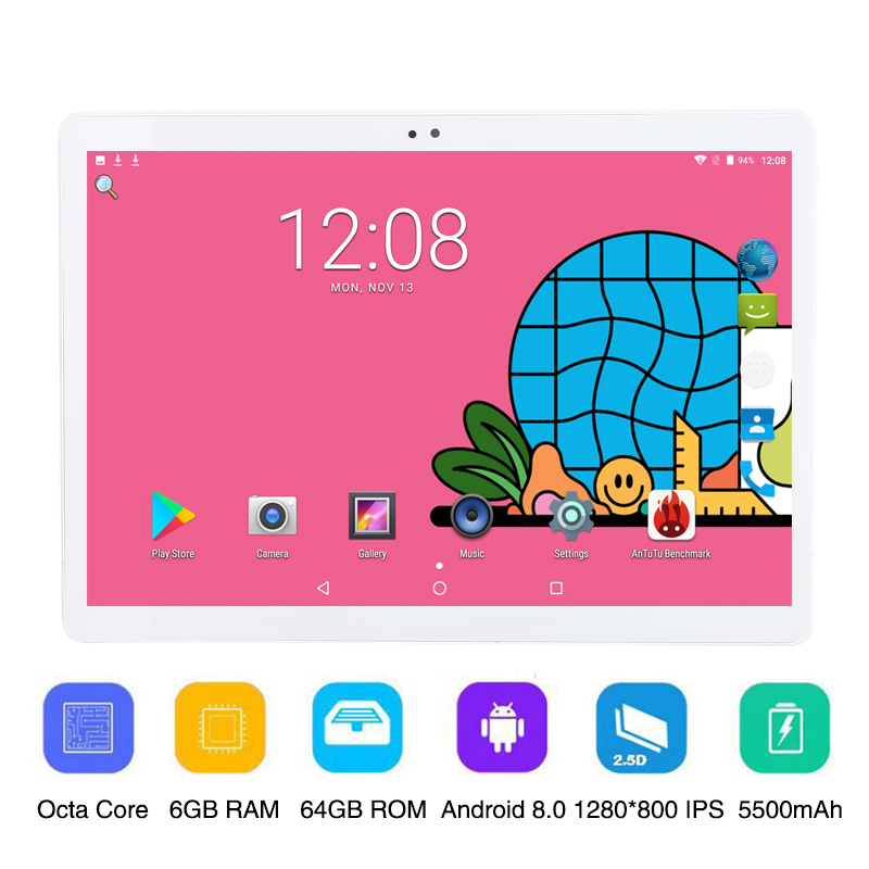 10 Inch Phone Call Android 8.0 Octa Core 6G 64G Tablet Pc Built-in 3G 4G LTE 1280x800 IPS Touch Screen 10.1 Inch Tablet WIFI FM