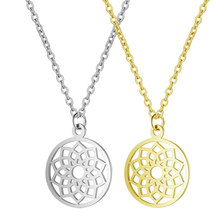 цена на 2019 Titanium Stainless Steel Hollow Out Lotus Charm Pendant Necklace Gold Silver Tone Long Link Chain Statement Collar Female