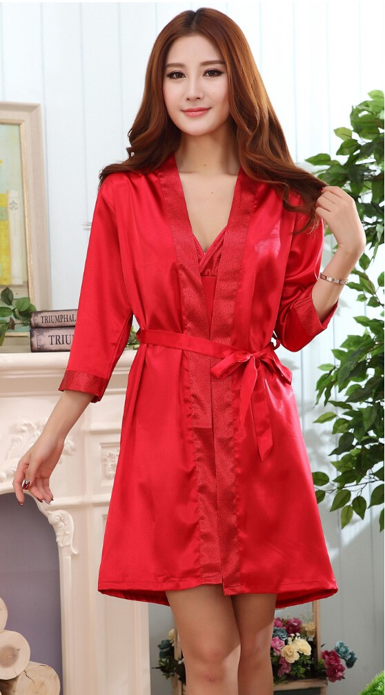 c456a3f77c2 Couples Bathrobe Summer Short Sleeve Silk Robe Set Kimono Satin Robe ...
