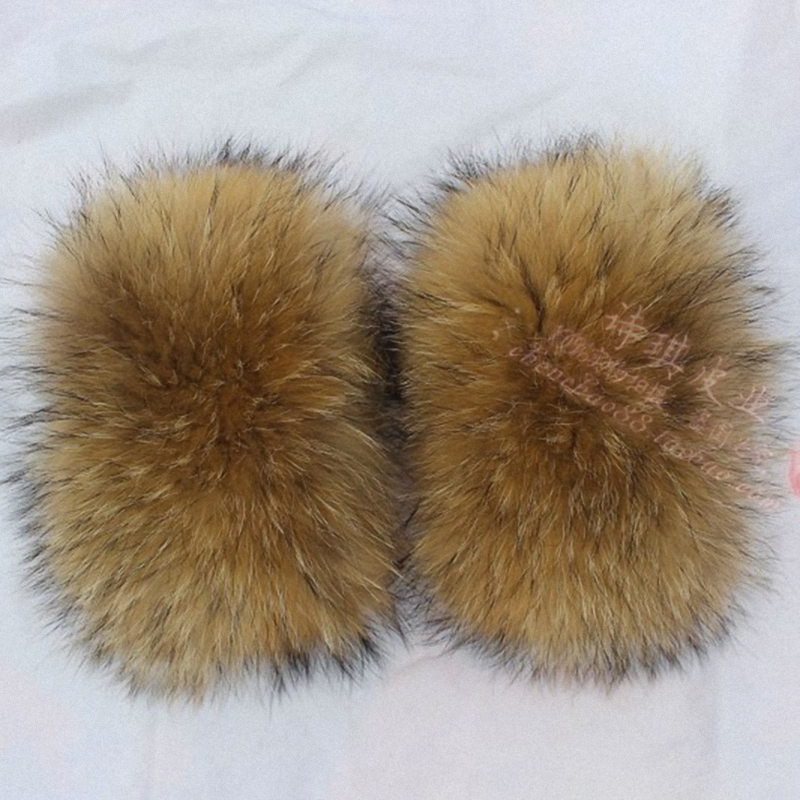 1 Pair Nature Genuine Raccoon Fur Arm Warmers Sleeve Decor Winter Pompom Fluffy Cute Cuffs Women Cute Accessories TKG001-30X21cm