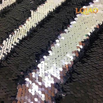 High Quality 125*45cm Black-Silver Reversible Mermaid Fish Scale Sequin Fabric Sparkly Paillette fabric For Dress/Bikini/Cushion image
