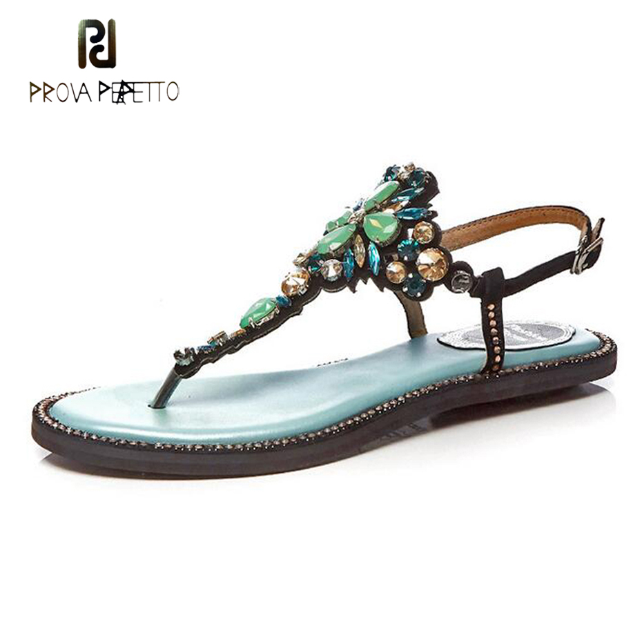 Prova Perfetto newest crystal sandals summer flip flop bling rhinestones flowers boho flats gladiator sandals women beach shoes цены