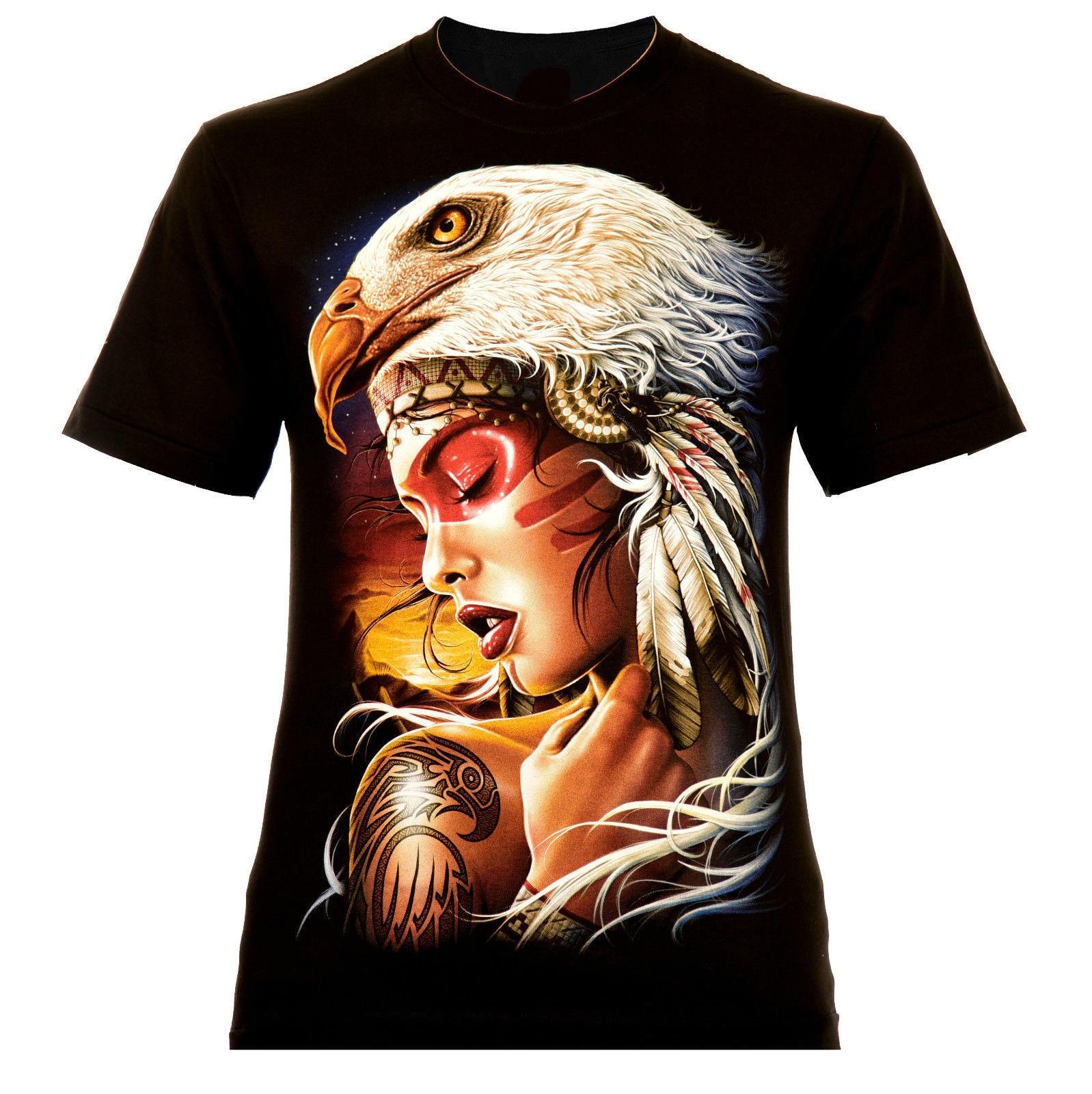Indigo Eagle Beauty Rock Eagle Black Indian Eagle Tattoo 2018 New Pure Cotton Short Sleeves Hip Hop Fashion Mens T-Shirt