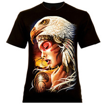 Indigo águila belleza roca negro águila India tatuaje 2018 nuevo Algodón  puro manga corta Hip Hop Moda hombre Camiseta cca82dd384e