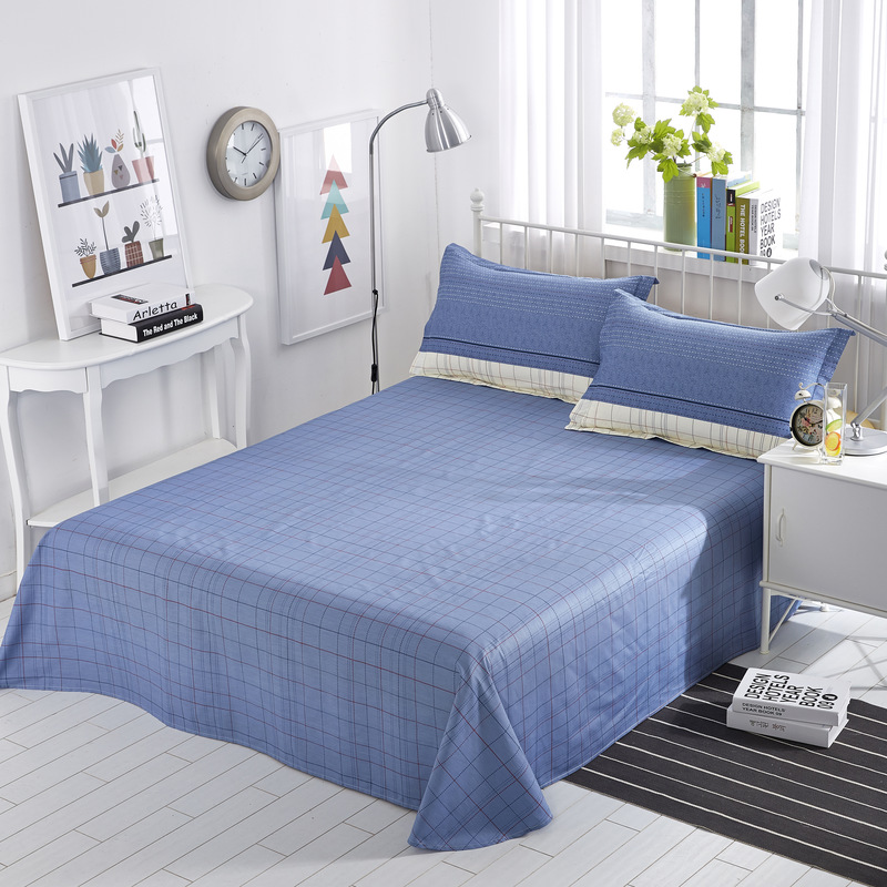 Classic Sheet Solid Stripe Bed Linen Bed Sheet Mattress Bed Covers Bedspread Flat Cotton Bet Sheet Set King Size for Home Decor