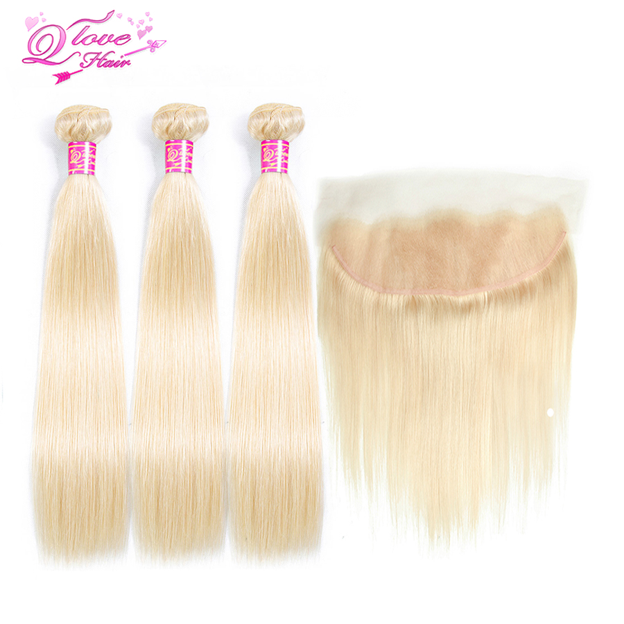 Queen Love Hair 613 Blonde Color Peruvian Straight Hair 3 Bundles With 13*4 Frontal Remy Hair 100% Human Hair Free Shipping