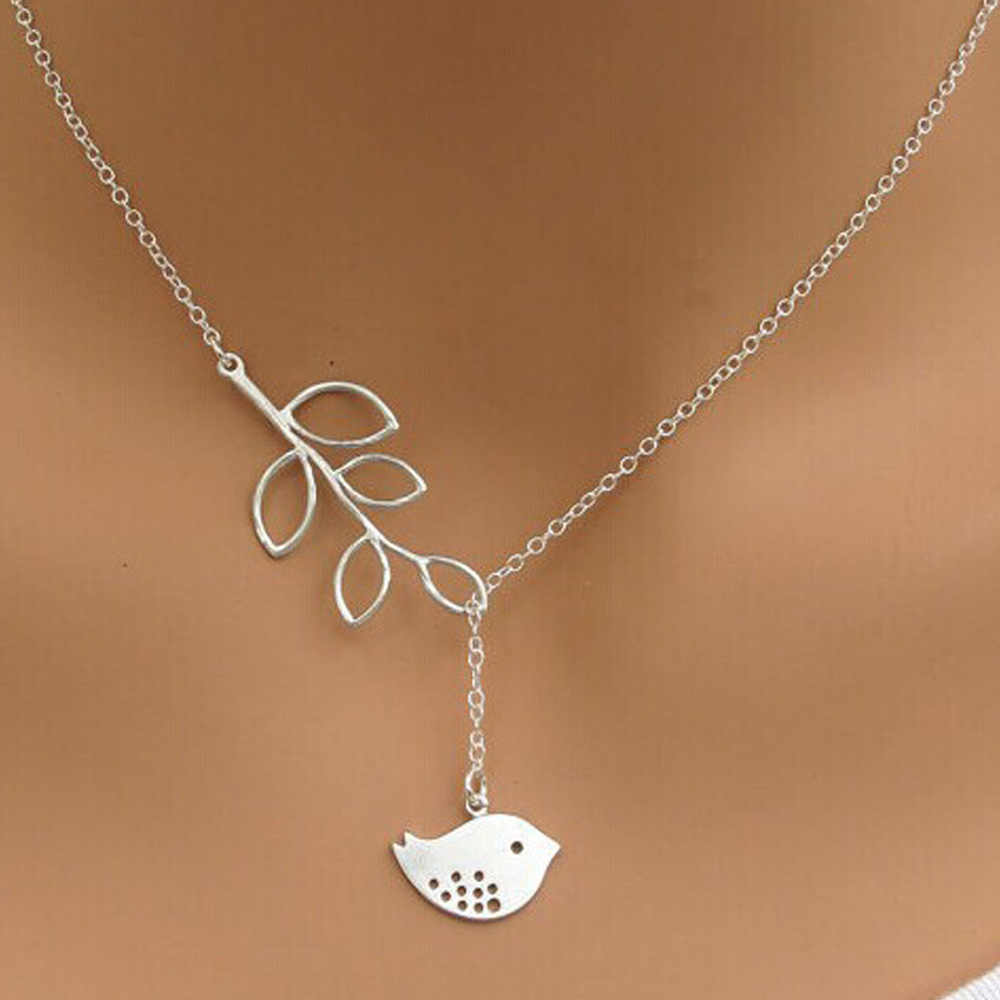 2016 Trendy Cute Leaf Bird Necklace Women Charm Clavicle Chains Necklaces for Women Cheap Tree Collar Maxi Neckless Jewelry