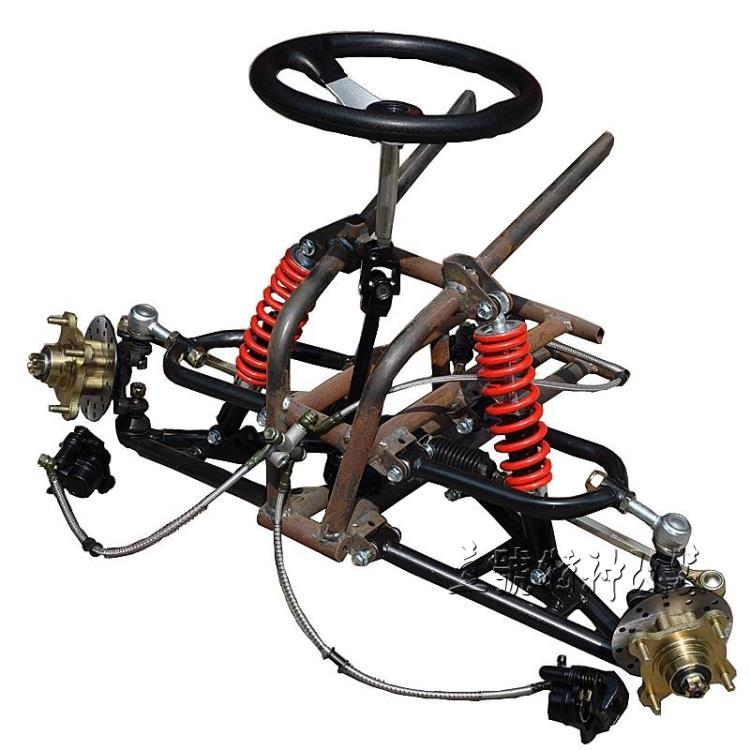 Go Kart Karting Four Wheel Atv Utv Steering Rack Disc Brake Front Suspension Frame Swingarms With Shock Absorbers