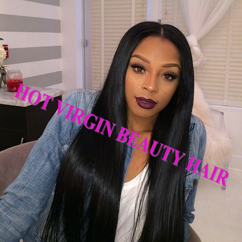 8A Brazilian Virgin Human Hair Lace Front Wig Glueless Full Lace Wig Straight With Baby Hair U Part Wigs DHL TNT Free Shipping_