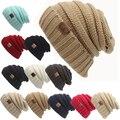 Women Winter Beanies Men/Female Hat 2016 Hot Autumn Europe CC Tag letter Labeling Knitting Cap Sleeve Cap Outdoor Warm Hat WQ246