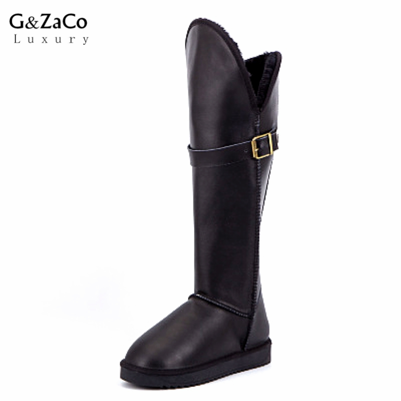 Winter Boots Knee High Snow Boots Cowhide Genuine Leather Long Snow Boots Suede Flat Women Shoes
