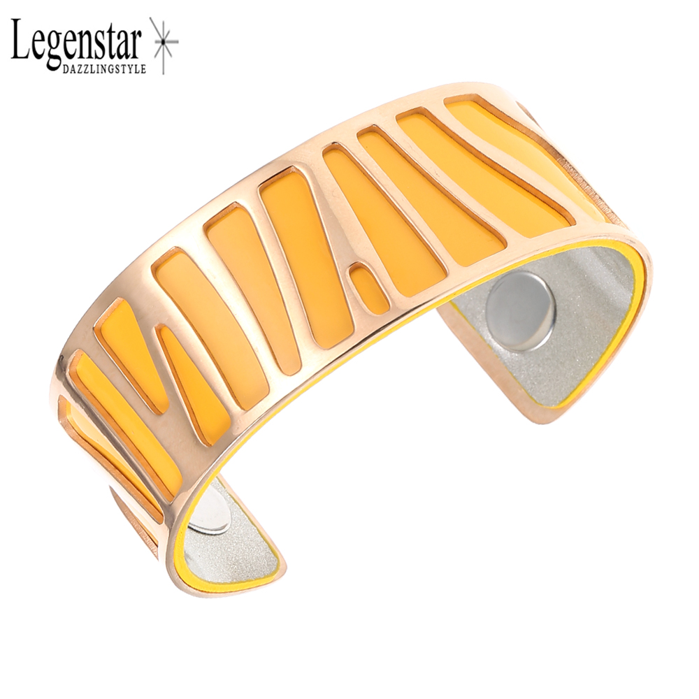 Legenstar Multicolor Reversible Band Leather Bracelets &Bangle for Women Rose Gold Color Stainless Steel Jewelry Cuff Pulseiras
