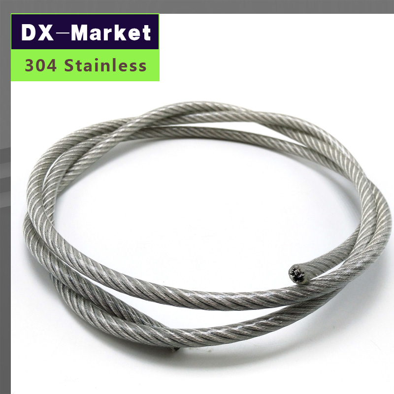 5mm , 10meter/lot , 7*19 , Transparent color Plastic Coating 304 Stainless Steel Wire Rope pulling rope Mold Fishing rope stainless steel rope loading weight 40kg 5mm thickness wire xr35 safety cables with looped ends for securing stage lighting