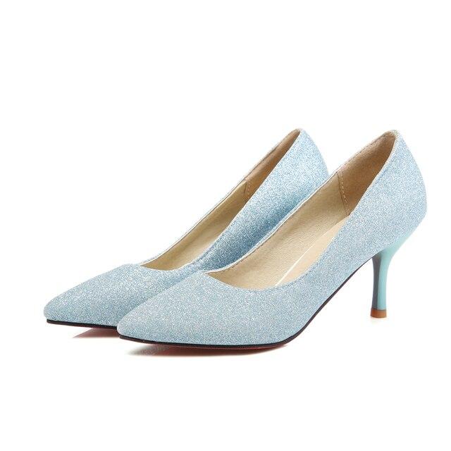 Японский сладкий стиль мода sexy острым носом насосы блеск скольжения на фиолетовый синий slver на высоком каблуке женская обувь большой размер
