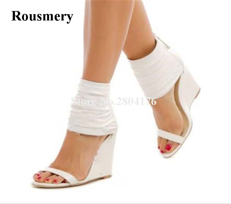 New Design Women Open Toe White Leather One Strap Wedge Sandals Ankle Wrap Back Zipper-up Wedge Sandals Dress Shoes все цены