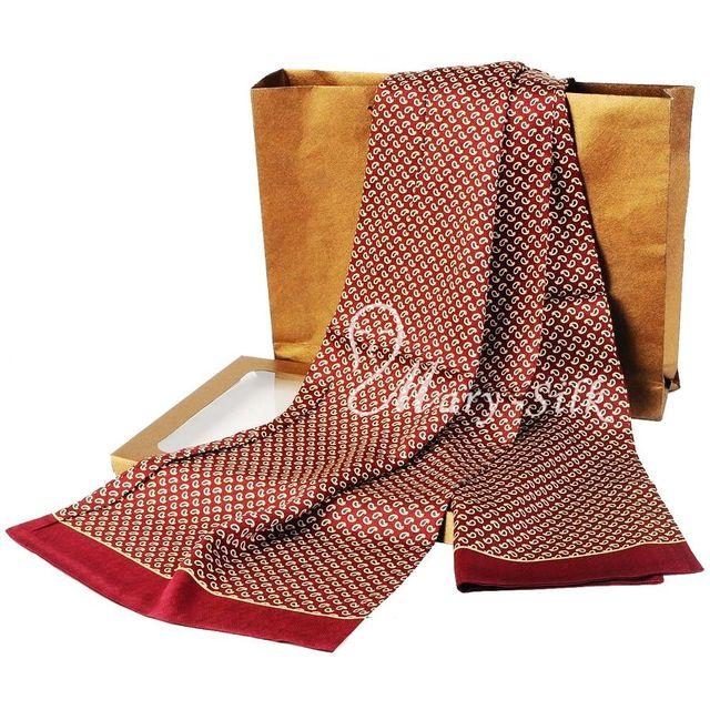 Moda de Nueva Marca Para Hombre 100% de la Bufanda de Seda Larga Bufanda de Seda Corbata Scarives Doble Capa
