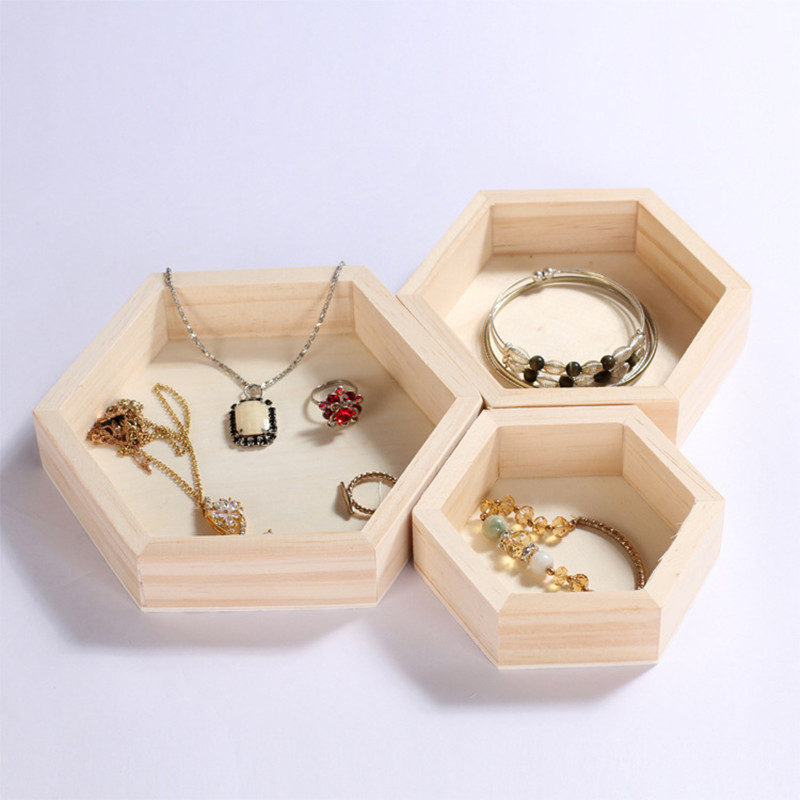 2018 New Hexagonal Natural Wood Earrings Ring Bracelet Box Jewelry Display Case Gift boxes Fit Original Europe Jewelry Organized