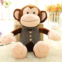 48CM One Piece Cute Brown Monkey With Clothes Doll PP Cotton Stuffed Sitting Monkeys Plush Toy Monkey Friends Birthday Gifts