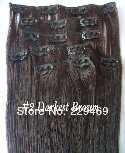 100%  Peruvian Remy Hair  7pcs Darkest Brown Straight Clip On Hair Extensions
