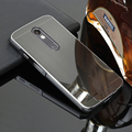 Escovado caso para motorola moto x force/droid turbo 2 Espelho PC Back Cover & Chapeamento de Metal Frame Set Telefone Coque Fundas