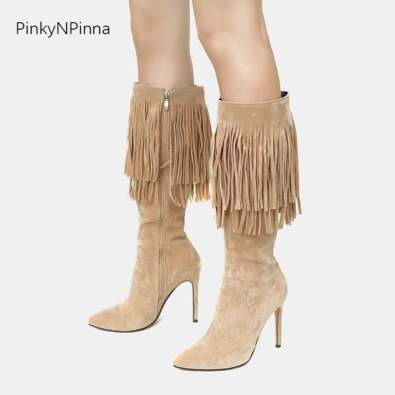 5536a6ae3ca US $25.08 43% OFF|Women Bohemian tassels fringe mid calf boots warm winter  long dancing boots vintage western 11cm stiletto heels plus size 44 43-in  ...