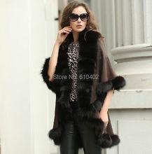 Wamen's Sophisticated/Genuine  Fox Fur burrs Stretch fabric Coat Cloak Poncho/shawl//cloak /Coat/cape//Wraps  Brown