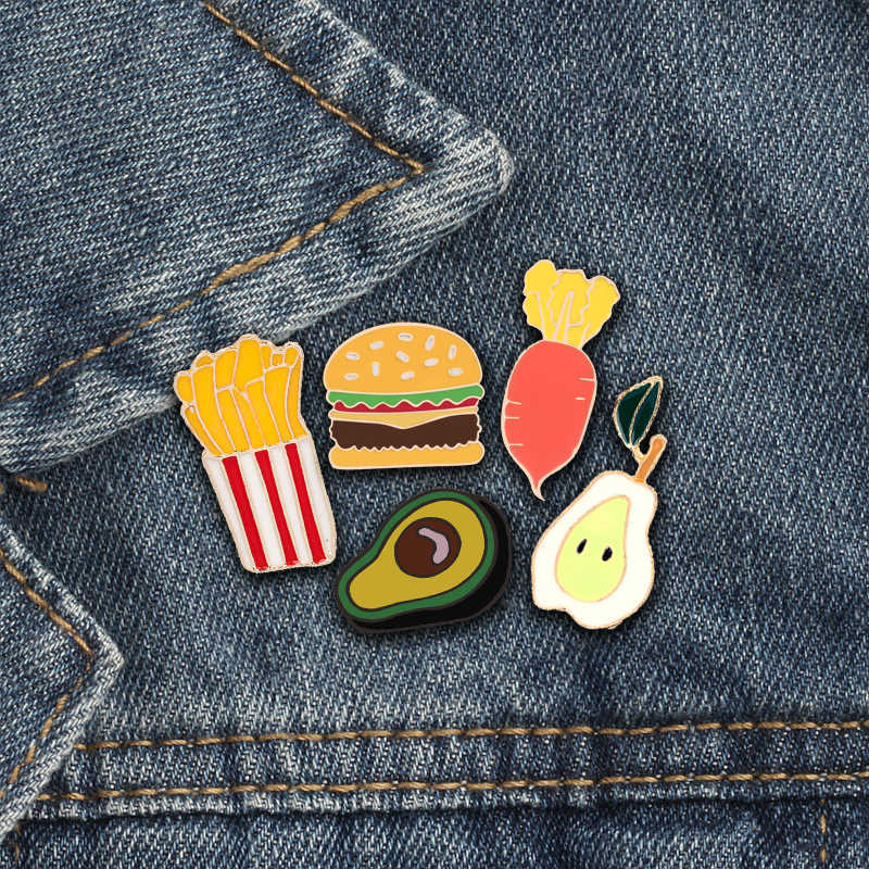 Cute Brooch Metal Lapel Pins Hamburger Fries Avocado Carrot Pear Enamel Pin Funny Badge Fashion jewelry Accessories Kids Games