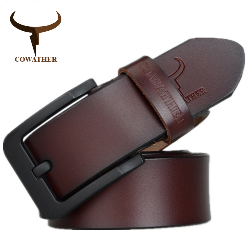 COWATHER male belt for mens high quality cow genuine leather belts 2017 hot sale strap fashion new jeans Black Buckle XF010