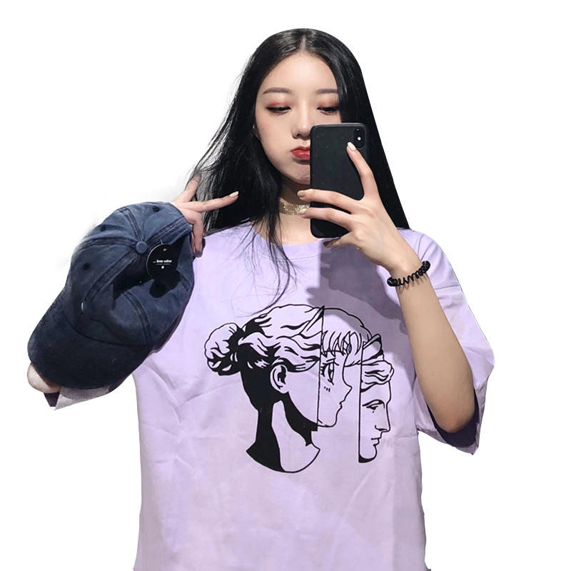 harajuku kawaii clothes summer 2018 korean fashion summer t shirt sweet printed cartoon beautiful girl white purple t-shirt wome