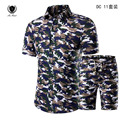 NEW Fashion Casual Camouflage Military Print Shirt Men Chemise Short-sleeve Dress Shirts Male Camisa Social Masculina Big Yards