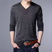 In the spring of 2017 new men's shirt color long sleeved men's sweater V collar straight thin youth sweater