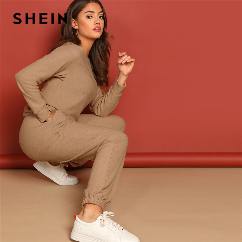 SHEIN Apricot Round Neck Solid Pullover And Slant Pocket Plain Pants Set 2019 Spring Women Minimalist Streetwear Twopiece