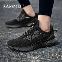 حذاء رجالي غير رسمي حذاء رياضي للرجال حذاء بدون كعب ذو علامة تجارية حذاء رجالي بدون كعب يسمح بمرور الهواء مقاس كبير مناسب لربيع وخريف Xammep