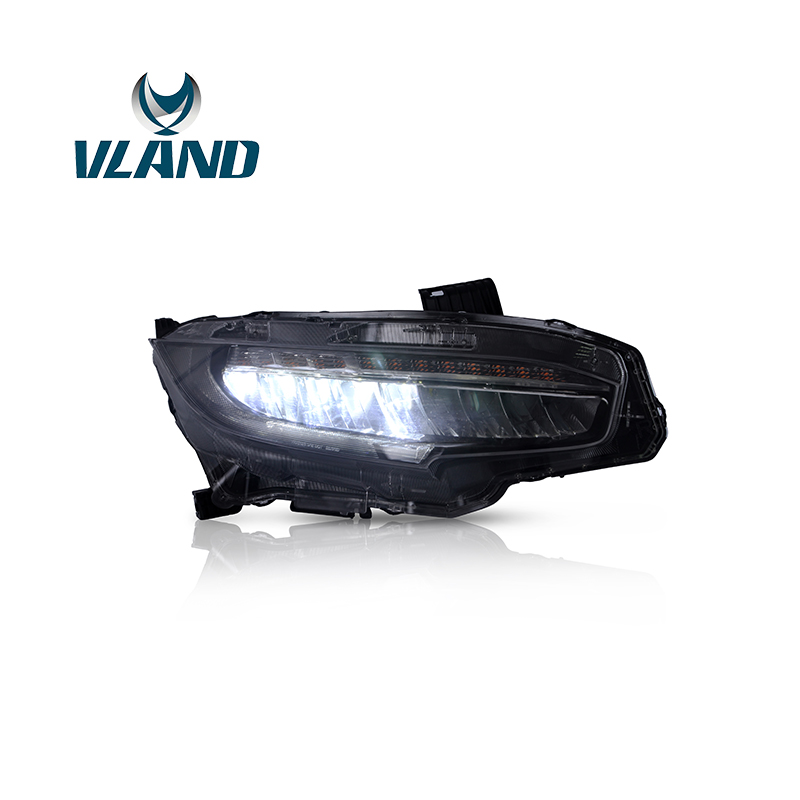 VLAND usine lampe frontale pour Civic phare LED 2016 2017 2018 lampe frontale pleine LED avec Signal mobile + Plug And Play + étanche - 3