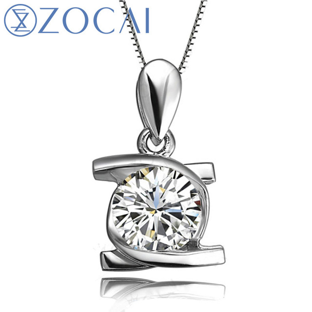 ZOCAI  Embrancing Love 0.25 CT Certified I-J/SI  Diamond Pendant 18K White Gold (Au750) +925 Sterling Chain As Gift D00520