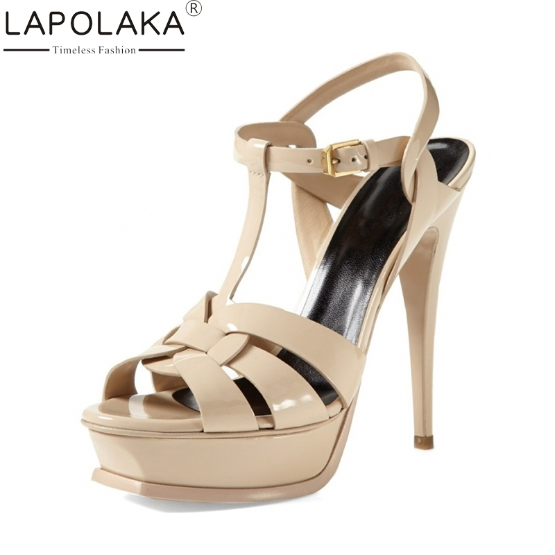 LAPOLAKA brand new shoes women fashion platform women shoes super thin high heels sexy party wedding sandals 11 colors women shoes sexy feather thin heels sandals fashion super high 11cm women sandals party shoes high heels sandalias mujer fashion