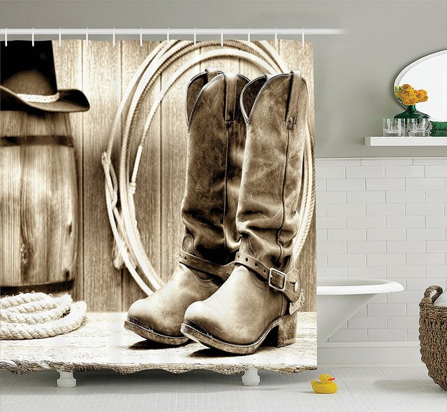 Western Shower Curtain Traditional Rodeo Supplies With Roper Boots In  Vintage Colors Nostalgic Wild Photo Polyester