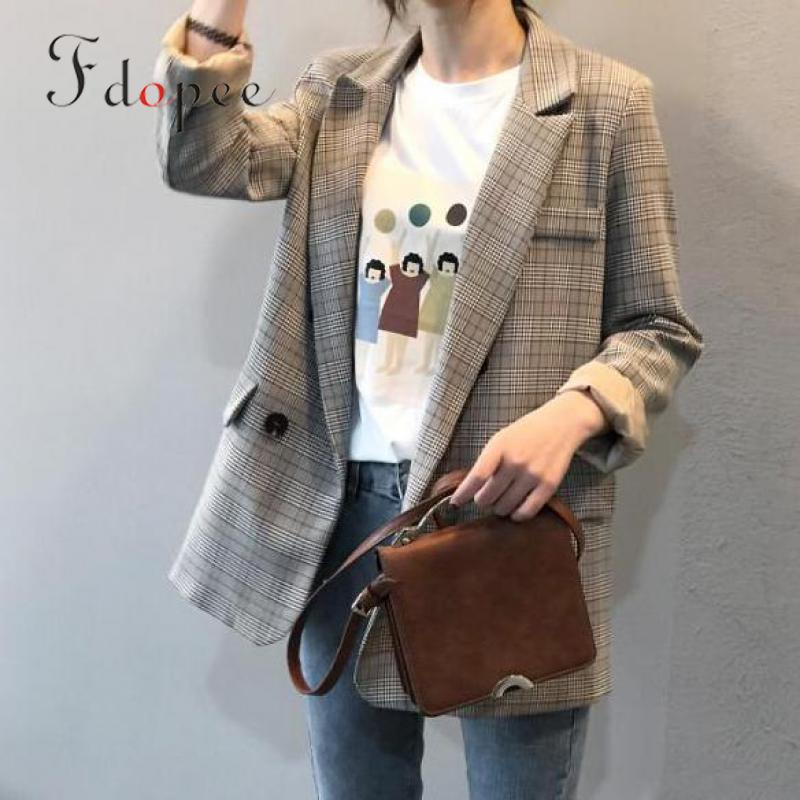 2019 Winter Coat Women Retro Casual Single Button Turn-down Collar Plaid Long Sleeve Leisure Color Matching Elegant Lattice Suit