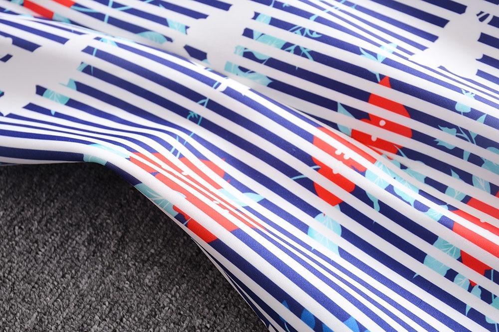 Col Manches De longueur Style Robe Femmes 2017 Élégant Date Courtes Genou L'europe Imprimer D'été Trompette Mignon Rayé À V Fleurs Mode XdwTp8