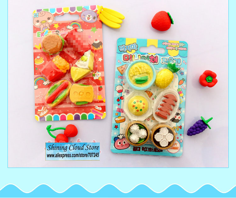 Image 4 - Free ship!20set!super hot!!3D Simulation fruit/food/animal/tool/car blister card erasers/30 model for choic-in Eraser from Office & School Supplies