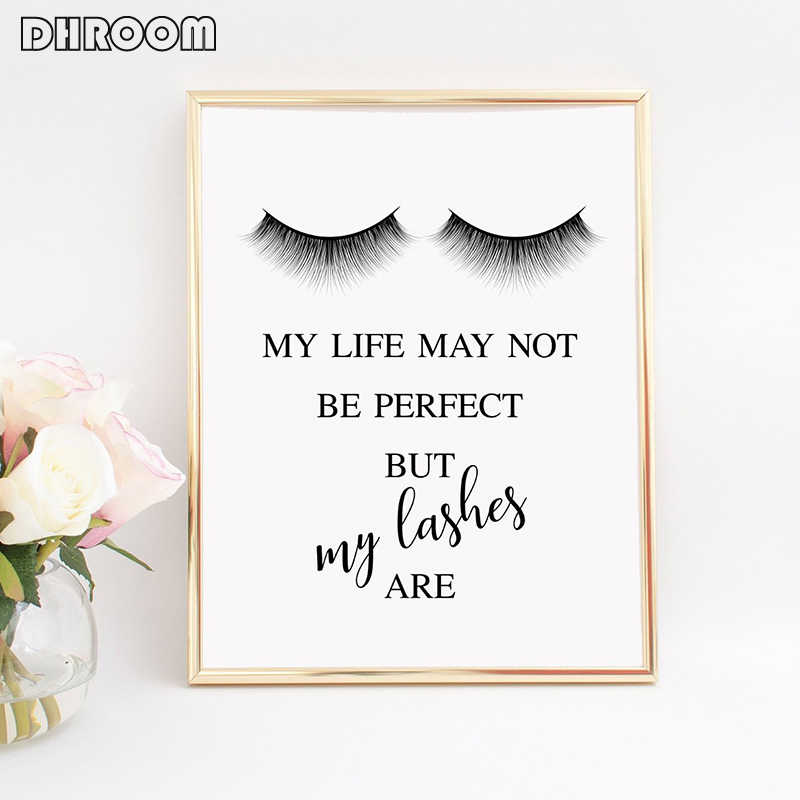 DHROOM Set of 3 Lashes Prints Wall Art Makeup Canvas Poster Decorative  Painting Lashes Quotes Wall Picture Salon Decor