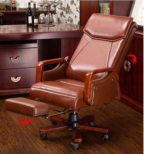 Simple office chair. Real leather computer chair. Home can lie in front chair.022 the boss chair is real leather the home can be massaged leather big class chair seat computer chair