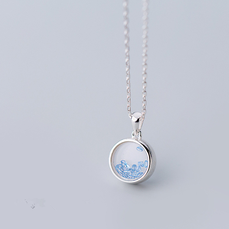 10mm 100% real Sterling Silver 925 Fine Jewelry Blue quicksands into the crystal Round Geometric Necklace Pendant GTLX1820