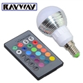 100pcs/lot E27 E14 3W magic color change RGB LED Bulb light Dimmable decoration lamp with IR Remote Control spot light AC85-265V