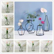 Скандинавские минималистичные абстрактные линии вазы черная железная ваза для цветов сушеная Цветочная ваза для украшения интерьера