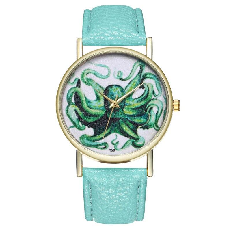 2018 New Octopus Pattern Leather Watch Women For Dropshipping Fashion Quartz Student Watch Dress Clock Wrist Watch