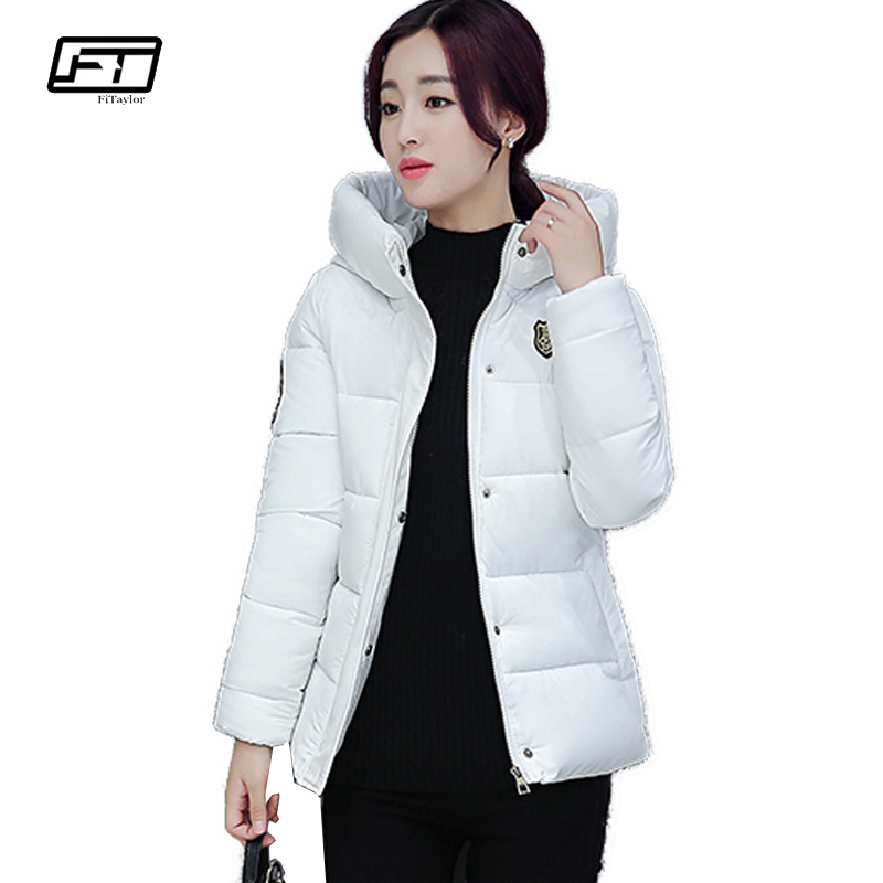 Fitaylor 2017 Fashion Winter Down Cotton Padded Coat Jacket Women Solid Slim Hooded Parka Mujer Warm Jackets Short Outwear free shipping winter jacket men down parka warm coat hooded cotton down jackets coat men warm outwear parka 225hfx