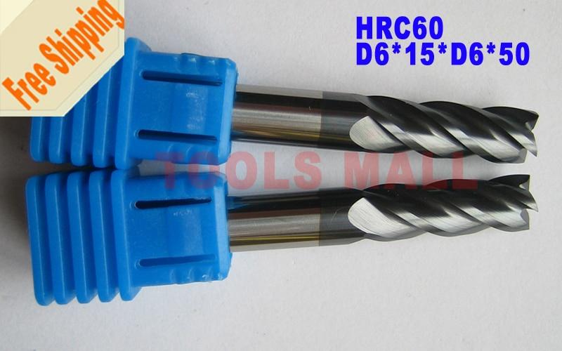 Free shipping - 3pcs 6mm Four Flutes Spiral Bit Milling Tools Carbide CNC Endmill Router bits hrc60 D6*15*D6*50  цены