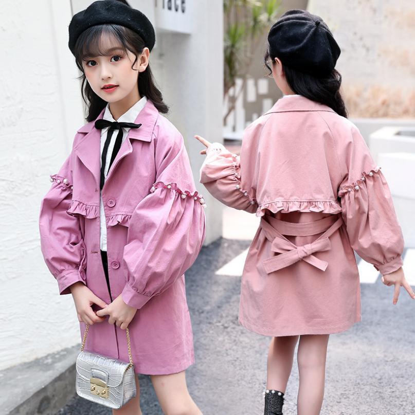 Baby Girls Windbreaker Jacket 2019 Autumn New Children cotton   Trench   Coat Outerwear modis Kids Clothing Jacket Y1609 with belt